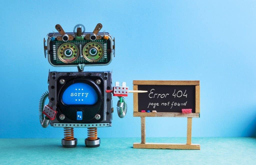 404 error page not found robot teacher with pointe SL9TR32